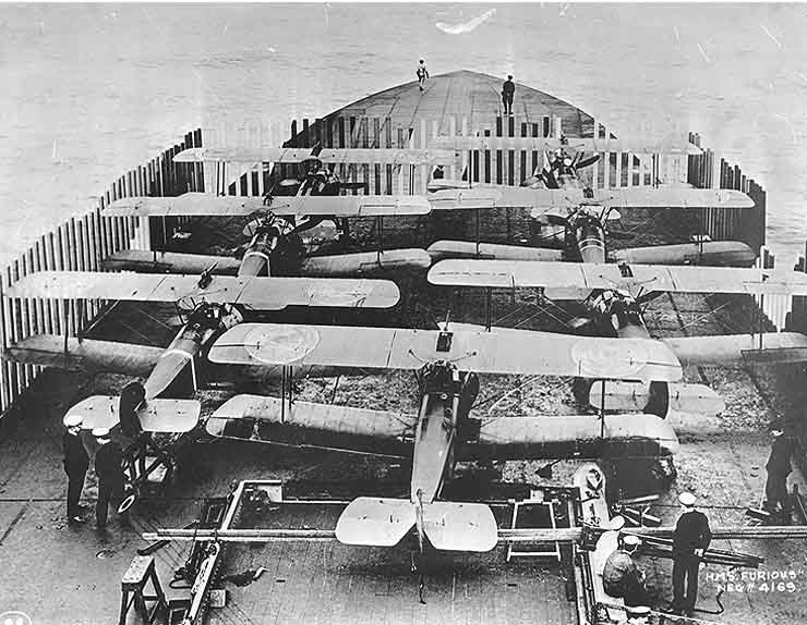 7 Sopwith Camels on Furious